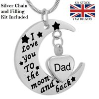 Dad Moon Heart Keepsake Cremation Urn Pendant Ashes Necklace Funeral Memorial