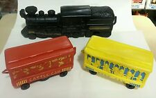 """Marx 737 Electric 3 Piece Squeeze Toy Train set 1946 """"D"""" battery operated"""