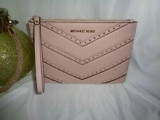 MICHAEL KORS ELLIS XL ZIP CLUTCH WRISTLET BLOSSOM STUDDED LEATHER CHEVRON