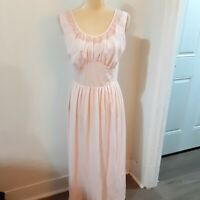 Vintage 1940's pink embroidered long nightgown S/M nylon fitted bodice