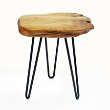"Side Table 16"" Cedar Wood Edge Metal Legs Stool Chair WELLAND"