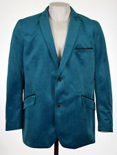Alfani Mens True Teal Velvet Two-Button Blazer Sportcoat Jacket 2XL