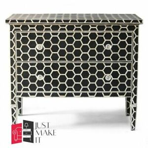 Bone Inlay Chest sideboard White Honeycomb (MADE TO ORDER)