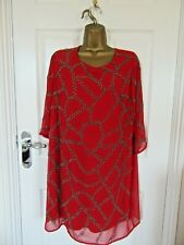 "N.W.T. Simply Be (Love Label) Red Beaded Chiffon Dress UK-16  Bust 44"" Lined"