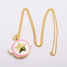 Anime Cardcaptor Sakura Watch Pink Star Wing Necklace Kidd Girl's Pocket Watch