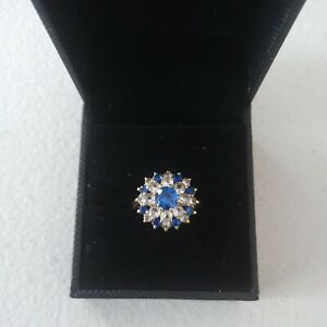 9k Yellow Gold Sapphire And Diamond Large Cluster Size L