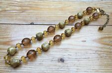 Pretty Joan Rivers Glass Bead & Agate  Necklace/Hippy/Boho/Natural Stone/Signed