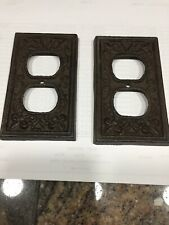 Pair Of Rustic Cast Iron French Fleur De Lis Double Electric Outlet Plate Covers