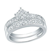Wedding Engagement Ring Set For Women Round AAA Cz 925 Sterling Silver Size 5-10