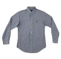 Polo Ralph Lauren Blue Stripe Shirt Men's Small Custom Fit Long Sleeve Button