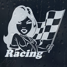 Racing Girl Chequered Flags Car Or Laptop Decal Vinyl Sticker For Window Panel