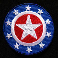STARS DESIGN Blue Round Embroidered Iron on Patch Free Postage