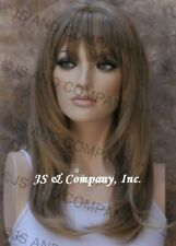 Long Straight Face Framing Blonde N Brown mix Wig w. Blunt Cut Bangs WASR 8T124