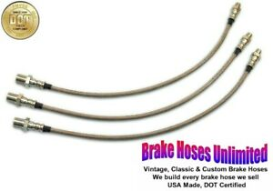 STAINLESS BRAKE HOSE SET Hudson Custom Six, Series 63, 73, 83 - 1936 1937 1938