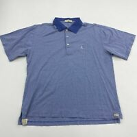 Peter Millar Polo Shirt Mens M Blue White Short Sleeve 100% Cotton Casual Polo