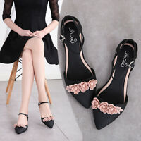 Womens Pointed Toe Flowers Flats Sandals Shoes Ankle Strap Casual Jelly Shoes