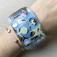 NEW Alexis Bittar Clear Lucite Wide Painted Floral Pastel Hinge Bracelet $295