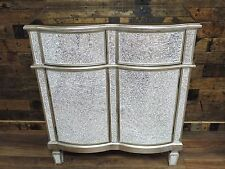 SILVER MOSAIC MIRRORED SMALL SIDEBOARD, CRACKLE GLASS SILVER SIDE UNIT