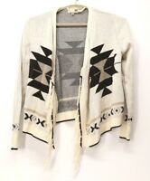 Soulmates Women's Cardigan Aztec Design Sweater with Fringe Size Small