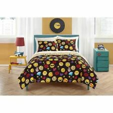 Girls Emoji Black Icons Twin Comforter, Sheets & Sham (5 Piece Bed In A Bag)
