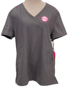 Koi Lite Philosophy Womens Large Steel Grey Scrub Top Slim Fit Stretch #316, NWT