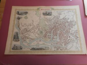 100% ORIGINAL LARGE BRISTOL AND CLIFTON MAP BY J TALLIS C1858 VGC HAND COLOURED