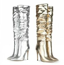 3 Colors Women Fashion Street Pattern Knee High Boots Outdoor Pumps Club 44/47 L