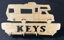 """Wood """"Rv Camper Key Holder"""" Scroll Saw Piece - Handmade - Clear Coat"""