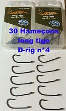 lot de 30 hameçons N*4 carpe long tige D-rig Radical Teflon << port gratuit >>
