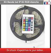 Kit Guirlande bande led 3528 RGB+télécommande 24 key+adaptateur-5 m IP65 étanche