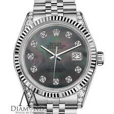 Woman's Rolex 26mm Datejust Black MOP Mother Of Pearl Dial with Diamond Watch