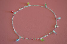925 Sterling Silver Mixed Colors Crystal Glass Beads Anklet