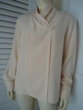 Anne Klein II Blouse 10 Ivory Silk Wrap Front Cowl Neck Shoulder Pads