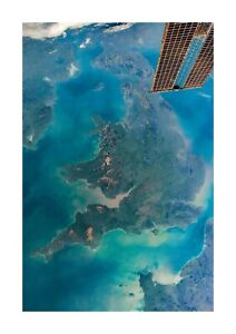 UK as seen from the Mir Space Station A4 photograph poster. Choice of frame.