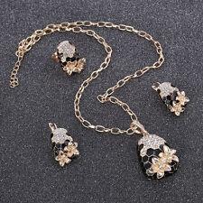 3 pieces GP Star Flower Black Enamel Bijoux Retro Vintage Crystal Jewelry Set