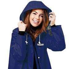 1pce Raincoat Premium Adult Navy Blue Water Proof Plastic Hood Medium Female