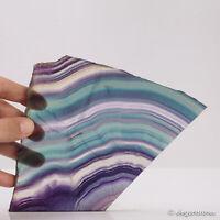498g Natural Rainbow Fluorite Quartz Slab Polished Crystal Healing Display Decor