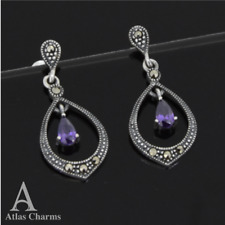 Art deco Marcasite Amethyst Earrings Silver Dangle Wedding Birthday gifts Her