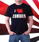 I LOVE ZOMBIES T-SHIRT High Quality Screen Print S M L XL 2XL HALLOWEEN HEART For Sale