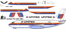 United 737 Saul Bass Boeing 737-200 decals for Airfix 1/144 kit