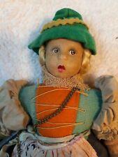 Vintage German 10� Cloth Doll With Umbrella - un-branded