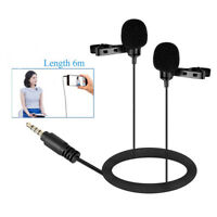 Professional Dual-Headed Lavalier Microphone with Windshields for DSLR Cameras