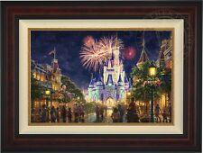 Thomas Kinkade Main Street 18 x 27 LE S/N Canvas (Burl Frame)  Disney World