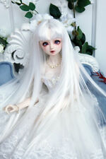 """1/3 8-9-10"""" Bjd Pullip Doll Long Wig Hair White Straight Special Iron Perm Skill"""