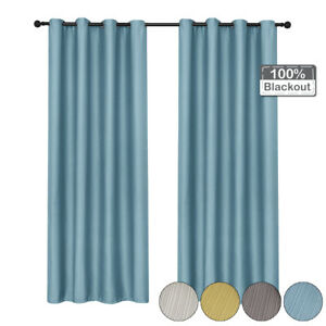 100% Blackout Eyelets Window Curtains Linen Curtain Insulated Thermal Ring Top