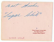 FRANK ISAAC SUGAR CHILE ROBINSON  Blues Singer Pianist  HAND SIGNED Album Page