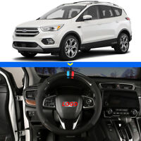 """For Ford Escape Car Steering Wheel Cover 15""""38cm Black Carbon Fiber Top Leather"""