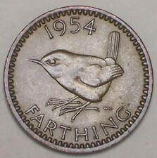 1954 UK Great Britain British Farthing Wren Bird Coin XF
