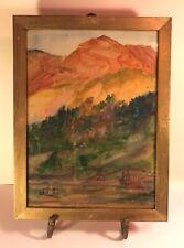 "Dorothea Dreier (1870-1923) Signed Watercolor ""Autumn in Norway"" Original Frame"