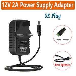 PSU 2A 12V DC Power Supply Adapter Charger for CCTV Camera LED Strip UK Plug